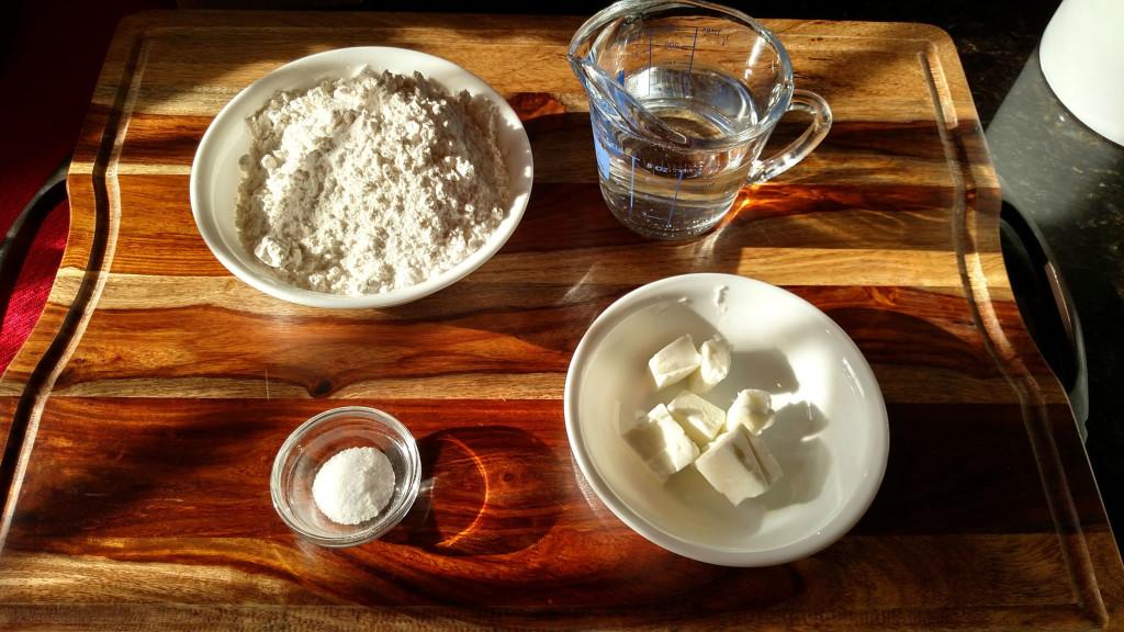 ingredients to make homemade flour tortillas