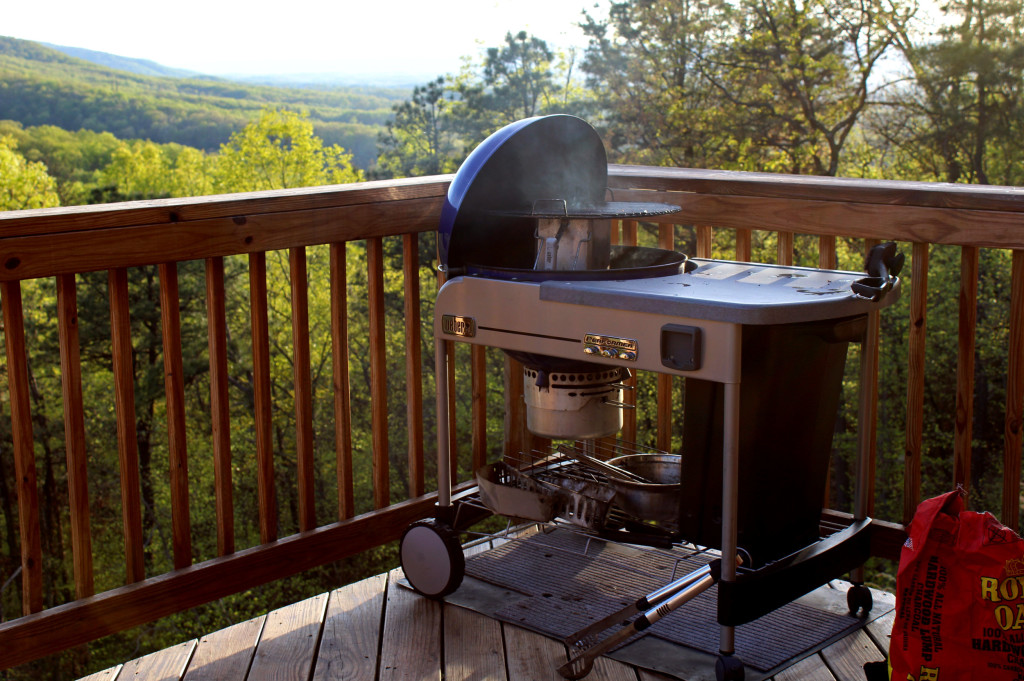 Weber Performer grill on deck with mountain view