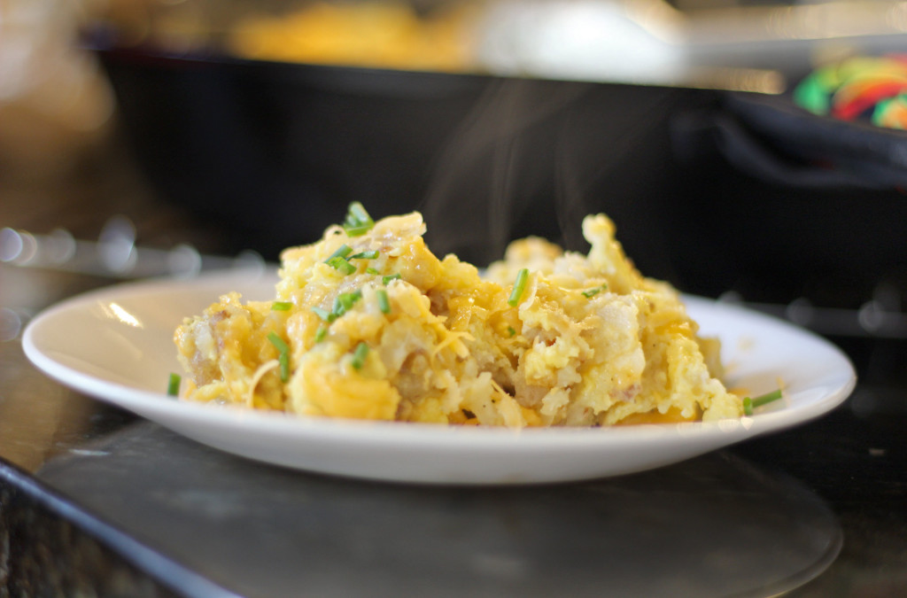 hot Camper's Breakfast Hash on a plate ready to eat
