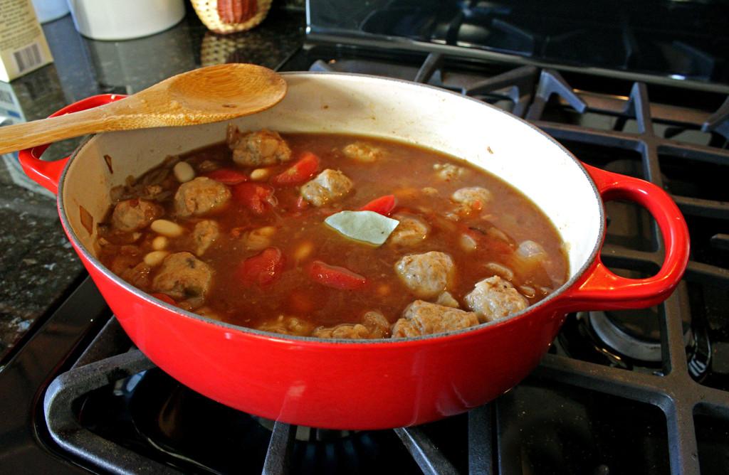 soup preparing for simmer