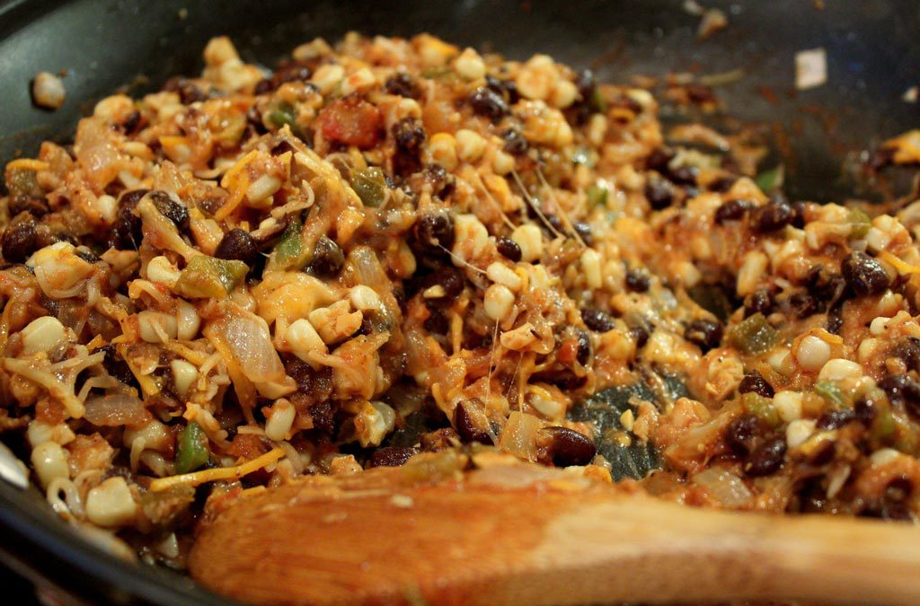 stuffing mixture in skillet
