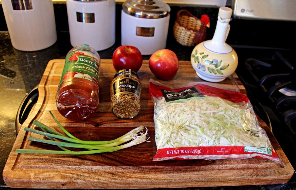 ingredients to make apple cabbage slaw