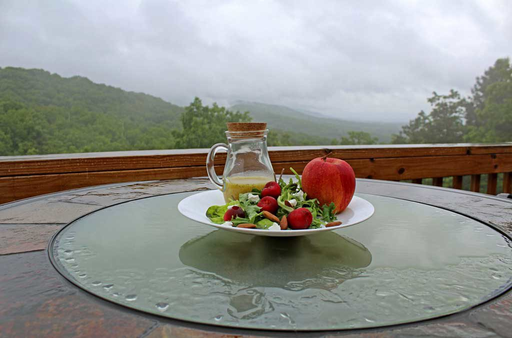 salad and dressing with mountain view