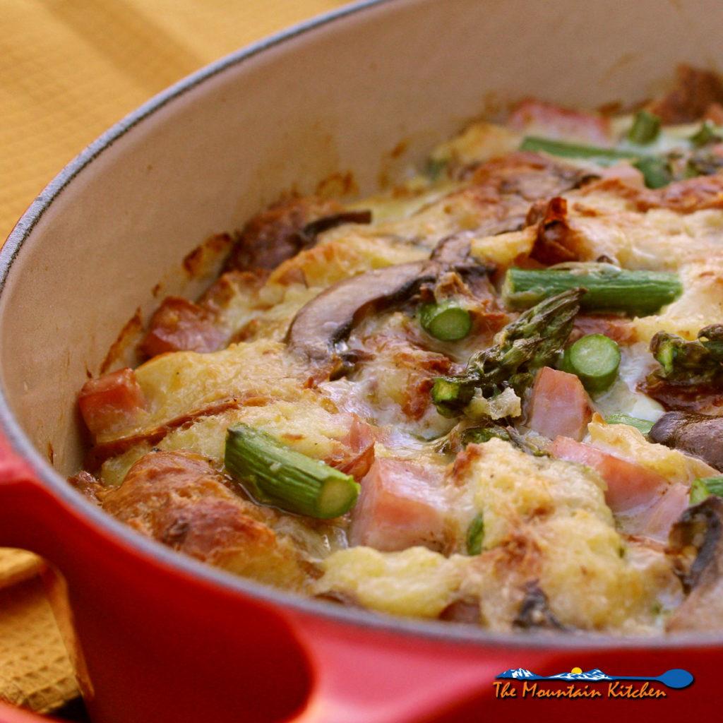 Ham, Asparagus, and Mushroom Bread Pudding