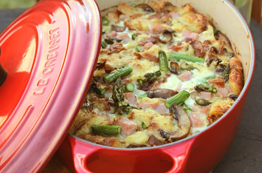 Ham, Asparagus, and Mushroom Bread Pudding | This is a savory bread pudding loaded with smoked Virginia ham, fresh asparagus, portobello mushrooms, Gruyere cheese & croissants, soaked in rich custard. | TheMountainKitchen.com