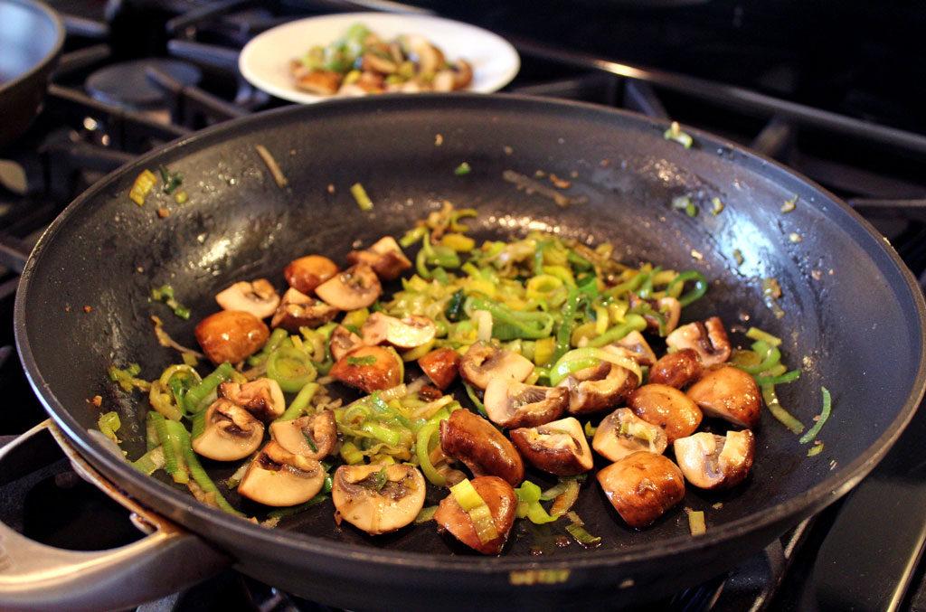 Leeks and Mushrooms in skillet