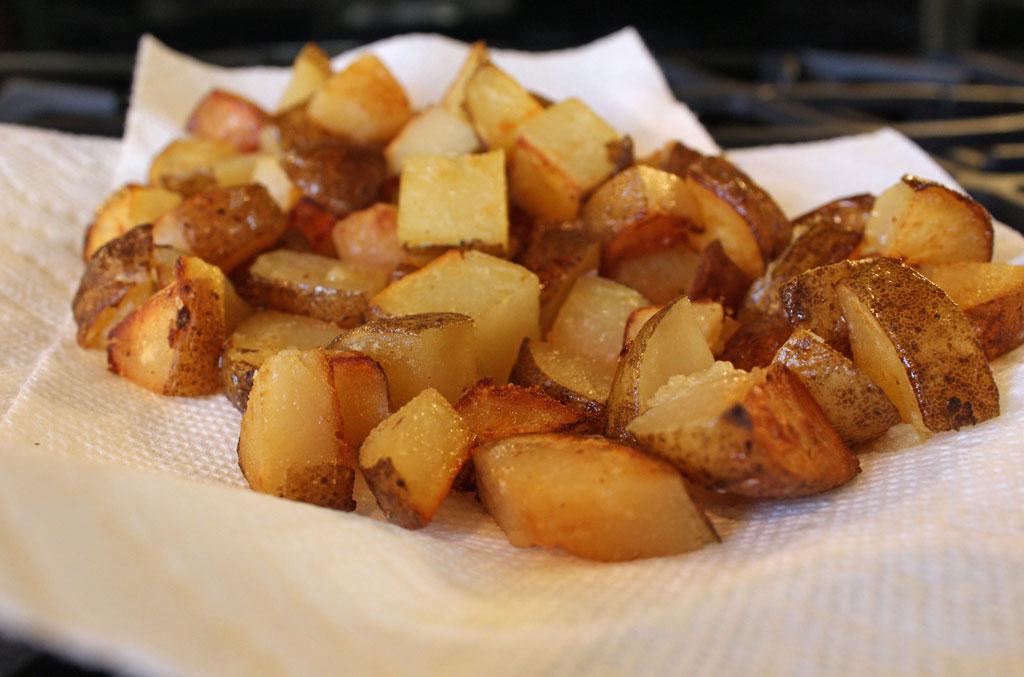 potatoes draining on papertowels