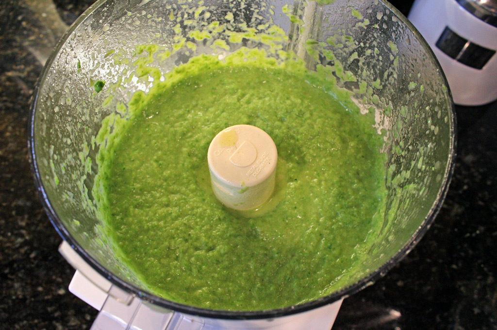 asparagus blended inside food processor bowl