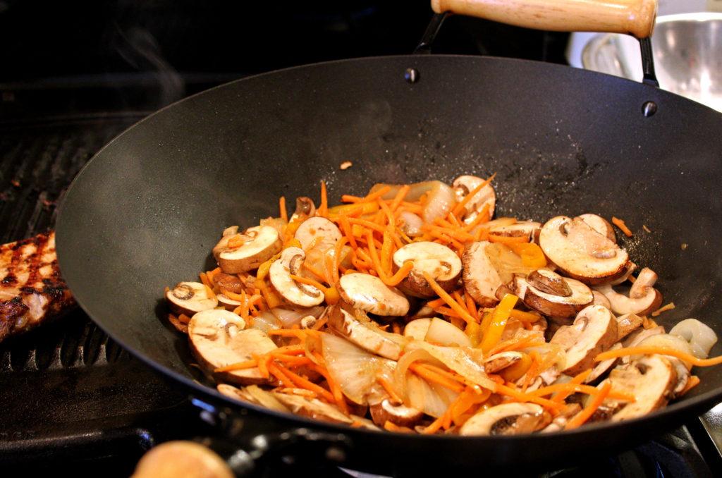 vegetables cooking in wok