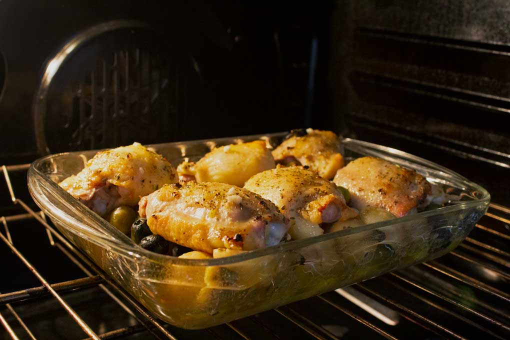 chicken baking in oven