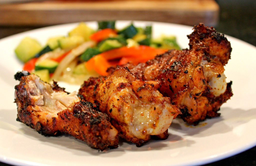 Grilled Cajun Chicken Wings served on plate