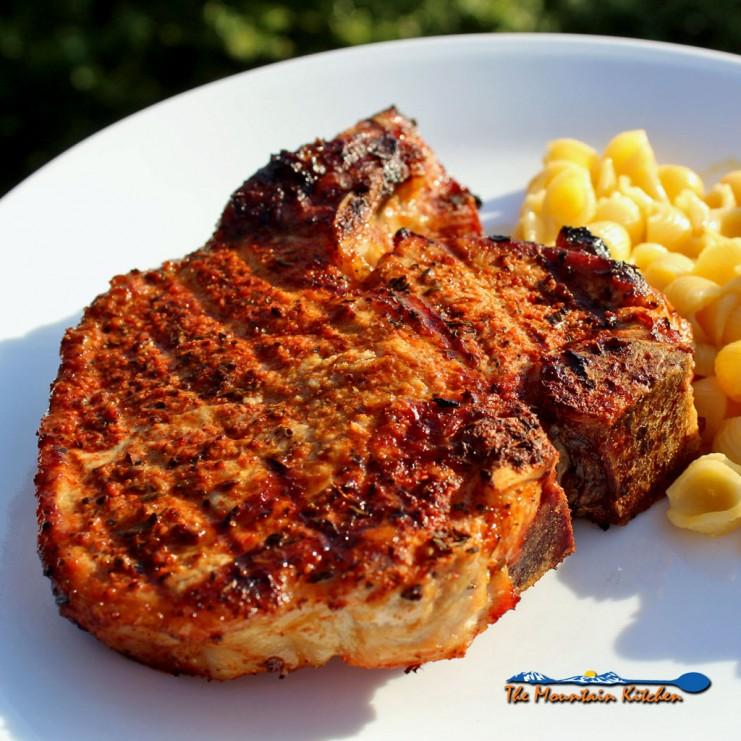 grilled cajun pork chop on plate