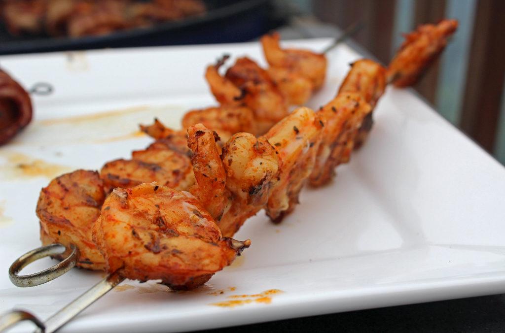 Cajun grilled shrimp on skewer
