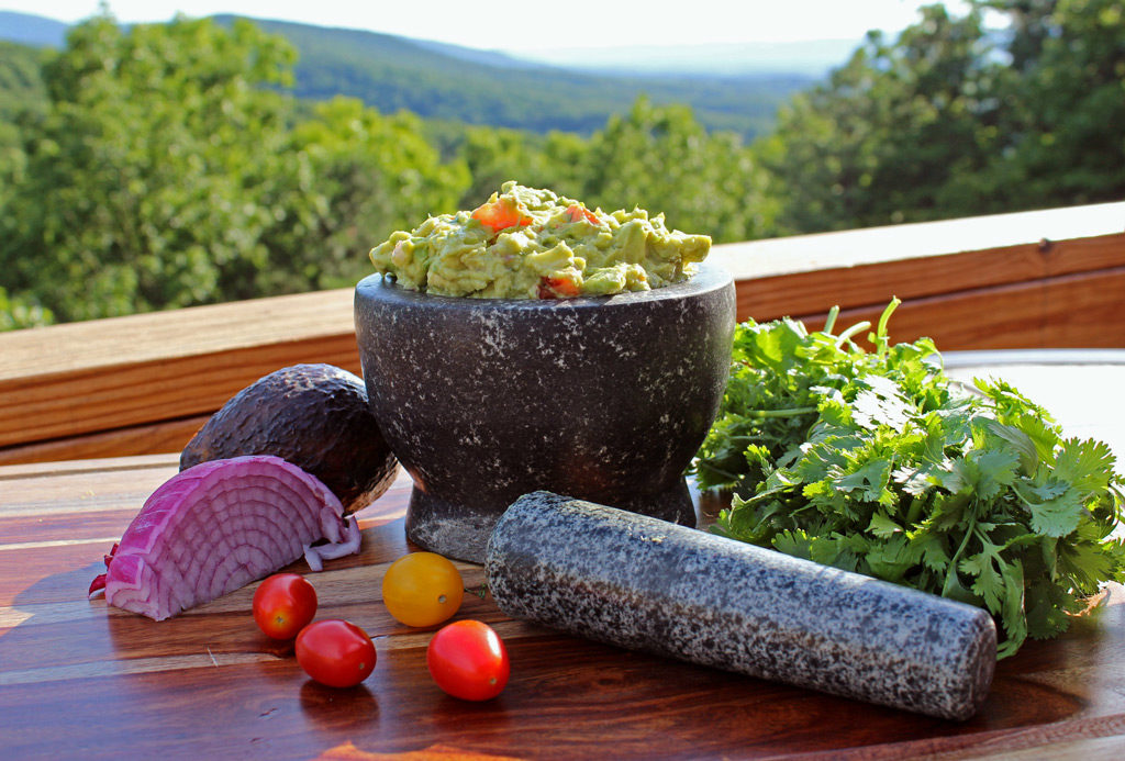 Guacamole with cilantro and mountain view