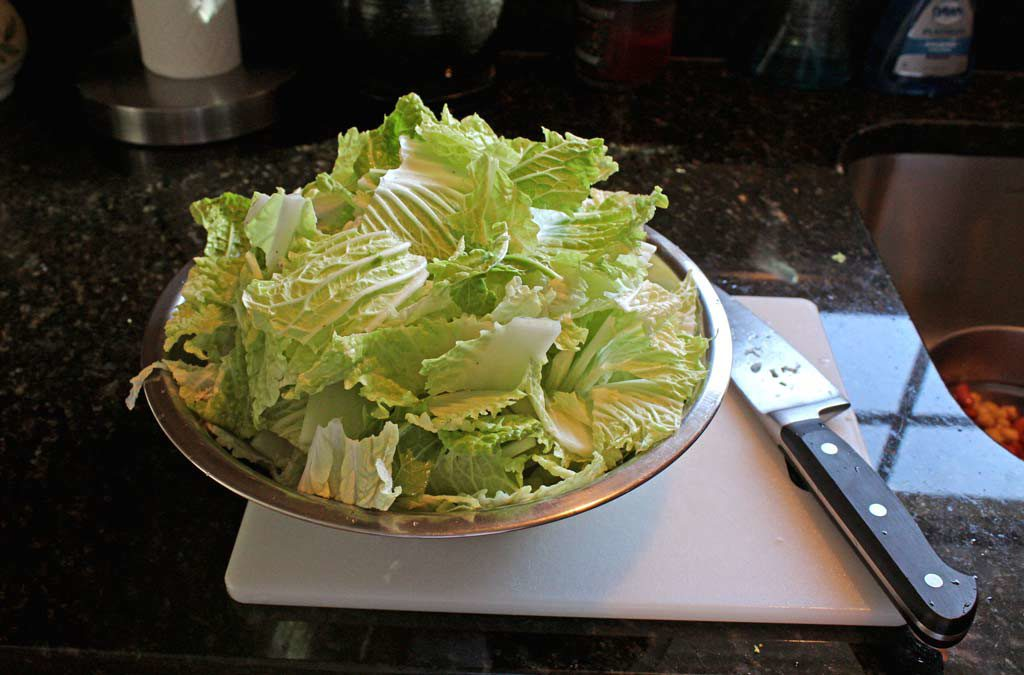 chopped cabbage in a bowl
