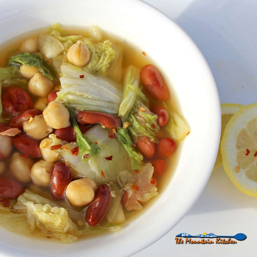 This Napa cabbage and bean soup is vegetarian comfort food! Ready in just 30 minutes, this delicious and very simple soup is so flavorful you'll want more! | TheMountainKitchen.com