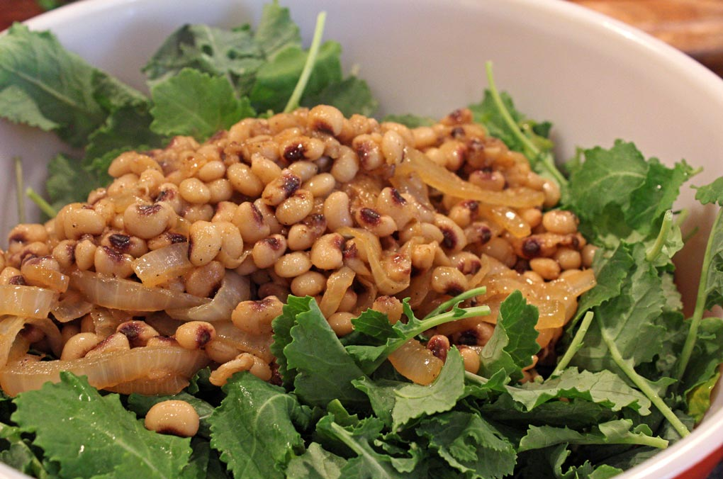 peas and kale in bowl