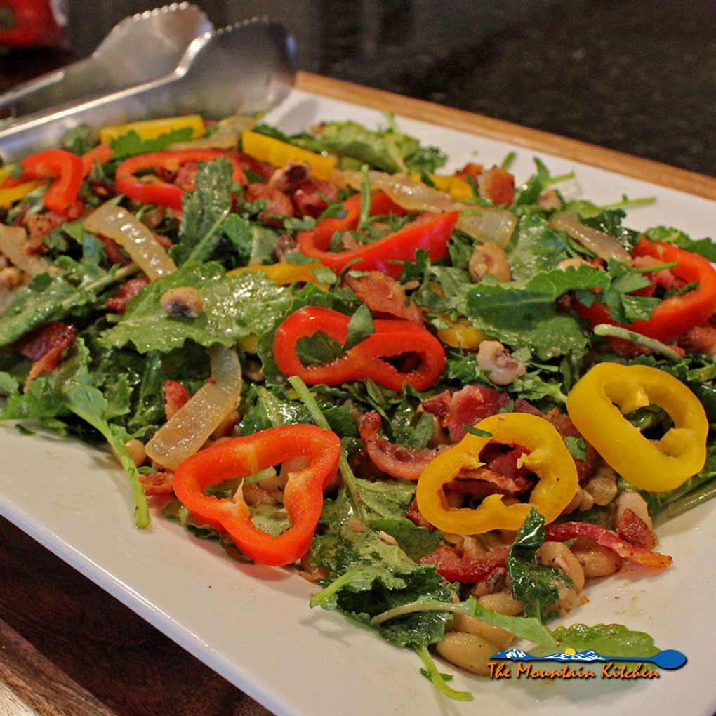 Peas and Kale Salad With Bacon Vinaigrette