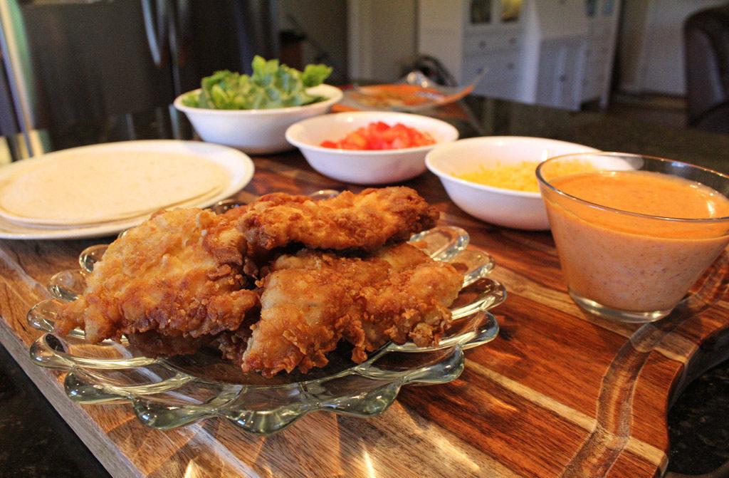 ingredients to make spicy chicken wraps