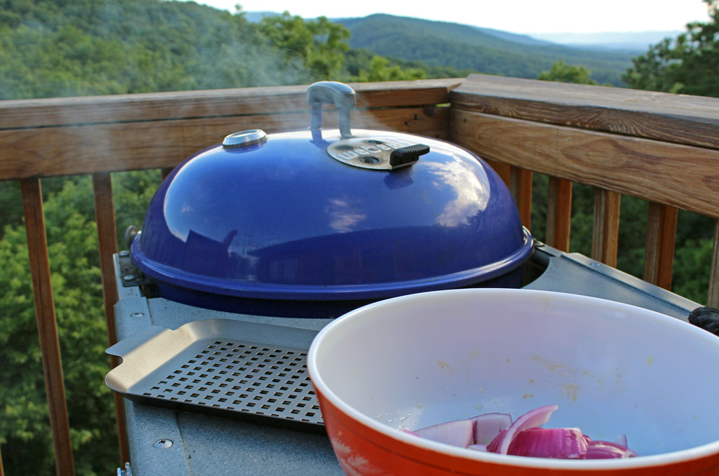 smoking grill with mountain view