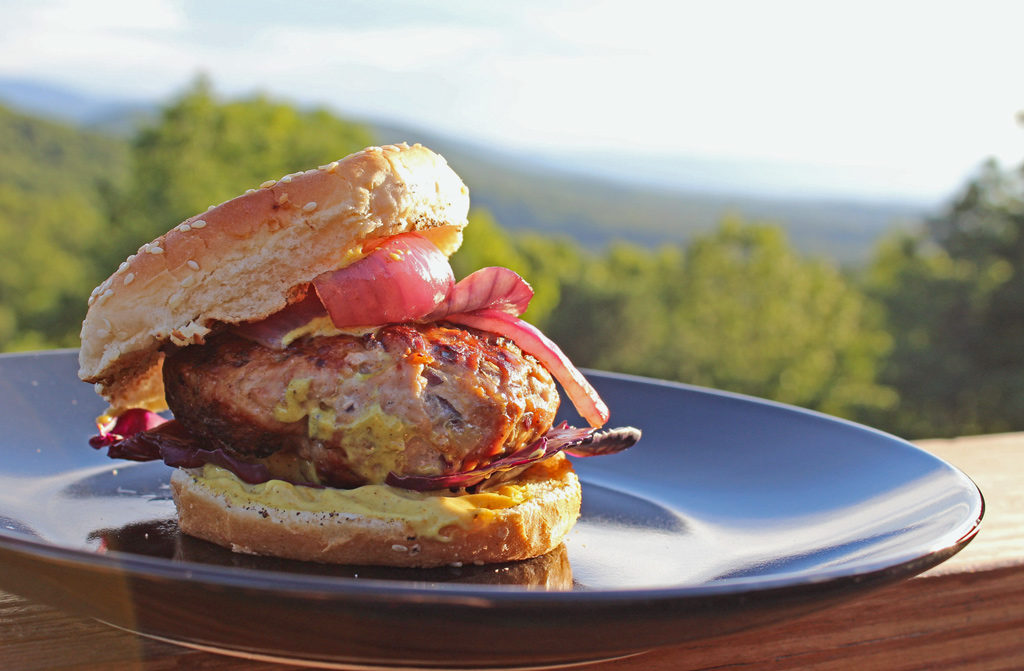 curried pork burger on plate with mountain view