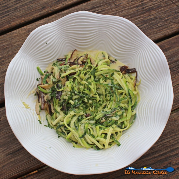 Low Carb Zucchini Alfredo with Shiitake Mushrooms | Shiitake mushrooms in a nest of creamy zucchini noodles with Alfredo sauce. Ready in just 20 minutes, this Alfredo dish is creamy, luxurious and amazingly healthy AND low-carb! | TheMountainKitchen.com