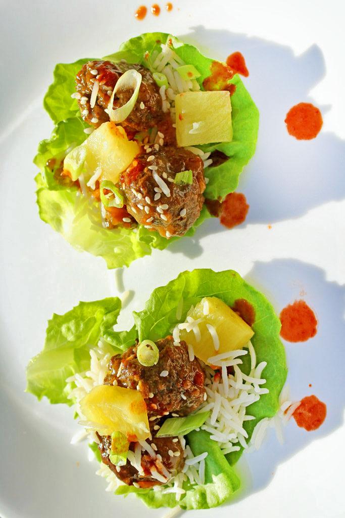 baked teriyaki meatball lettuce cups