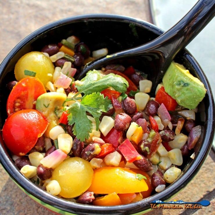 grilled corn black bean salad in bowl