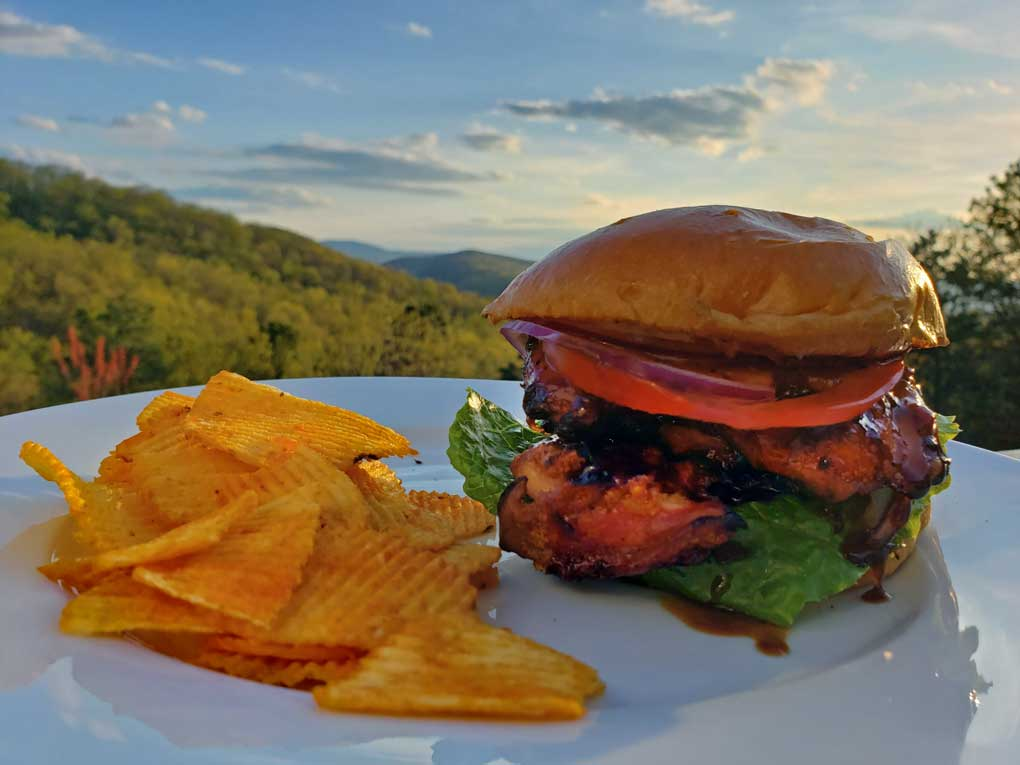 grilled teriyaki chicken sandwich on plate with chips and mountain view