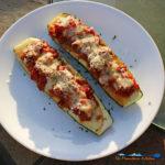 Sweet Italian Sausage Stuffed Zucchini Boats on plate