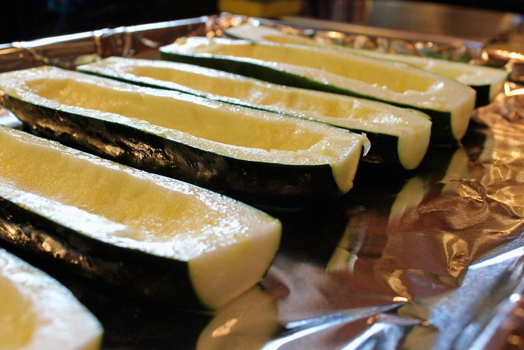 zucchini boats ready to stuff