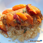 Jerk Chicken with Spicy Peach and Plum Coconut Sauce on a plate over rice
