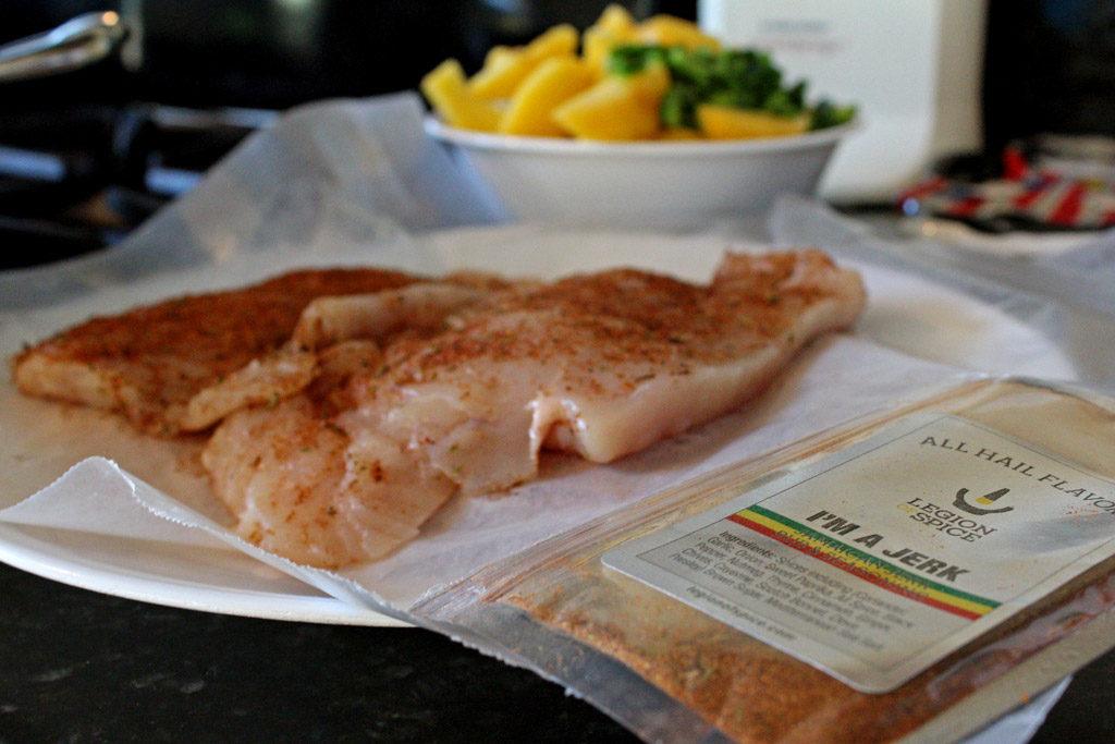 chicken on plate with jerk seasoning