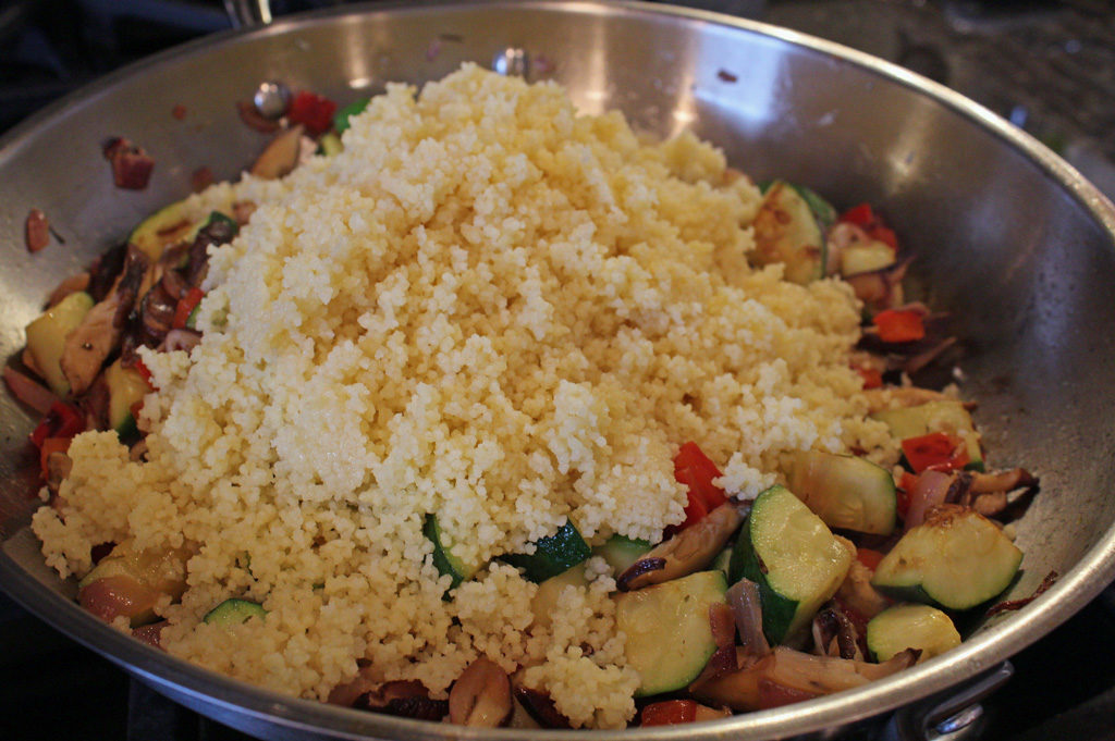 couscous in skillet with vegetables
