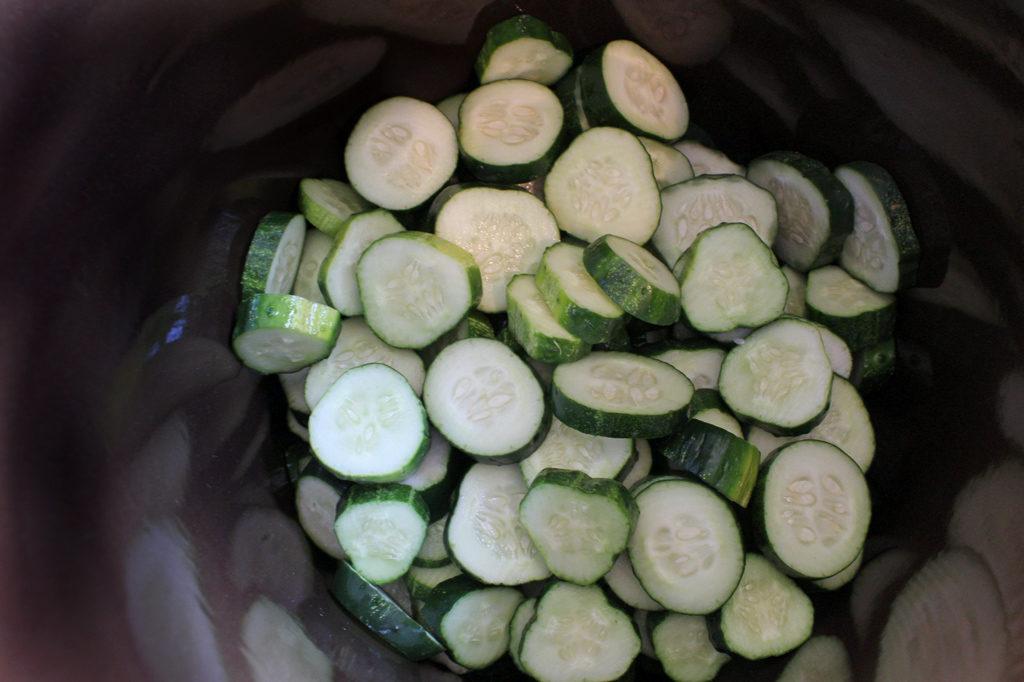 cucumbers in pickling crock