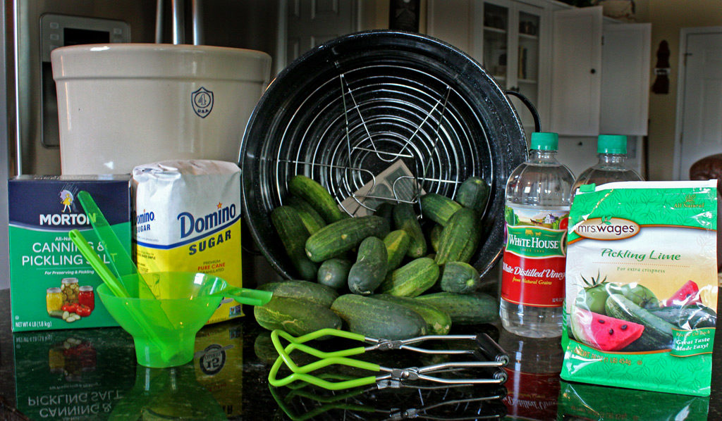 ingredients and equipment to make sweet pickles