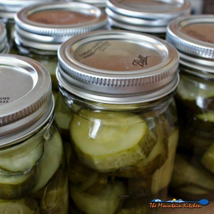 sweet pickles in jars