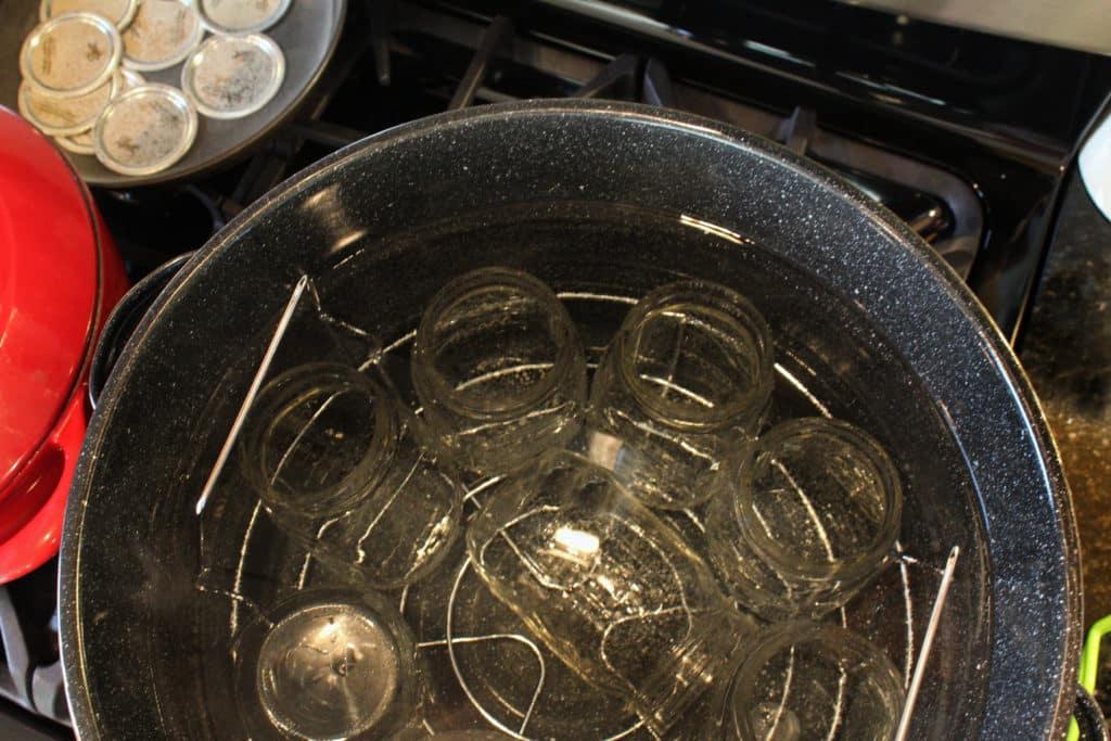 jars inside waterbath canner