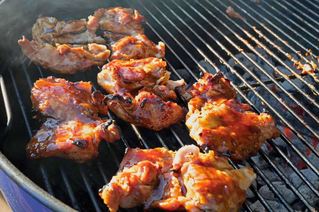 grilled teriyaki chicken thighs on grill