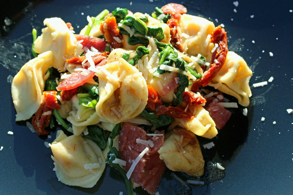 Tuscan Tortellini Pasta Salad on plate