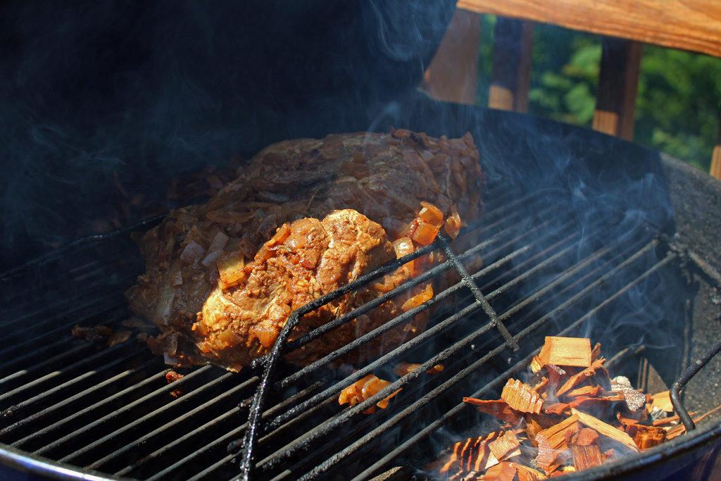 smoking pork on grill
