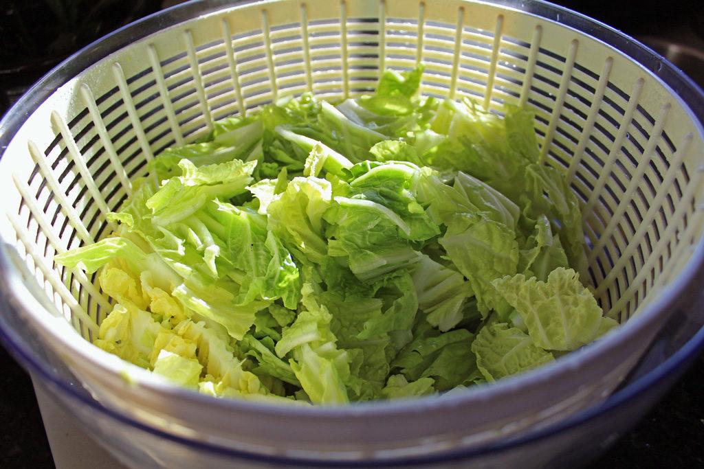 Napa cabbage inside a salad spinner