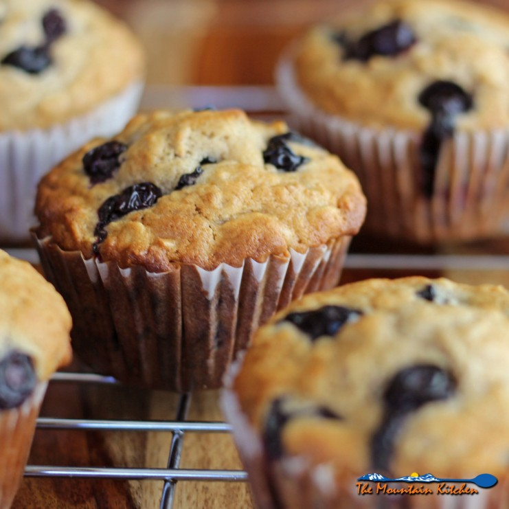 Hearty blueberry oatmeal muffins with chewy whole grain oats, juicy blueberries and warm cinnamon and refreshing orange flavor. | TheMountainKitchen.com