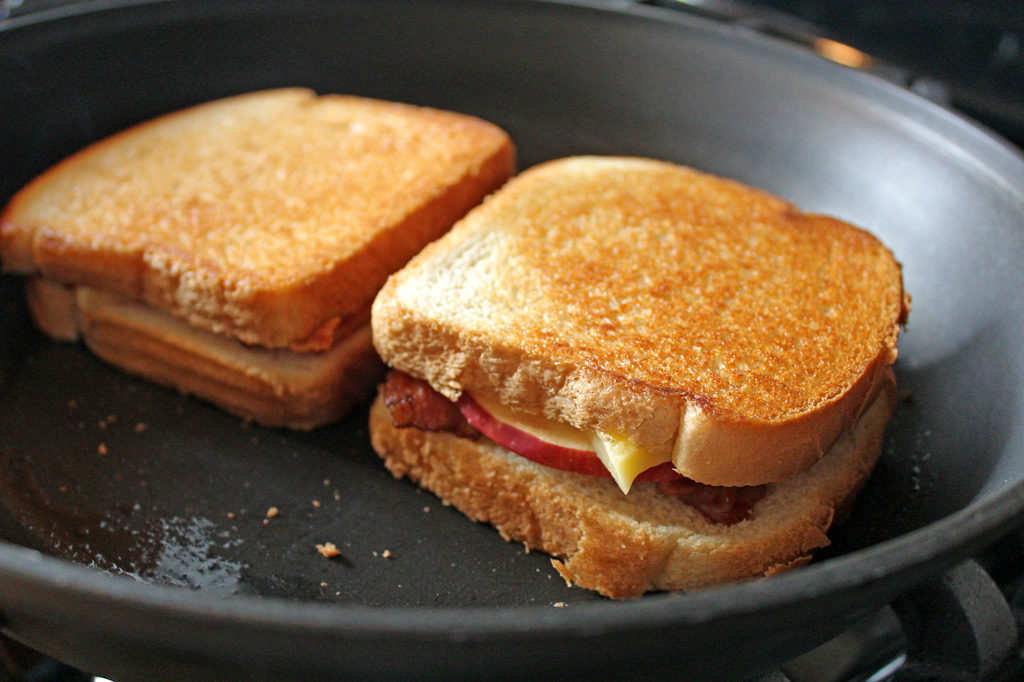 sandwiches in skillet with butter
