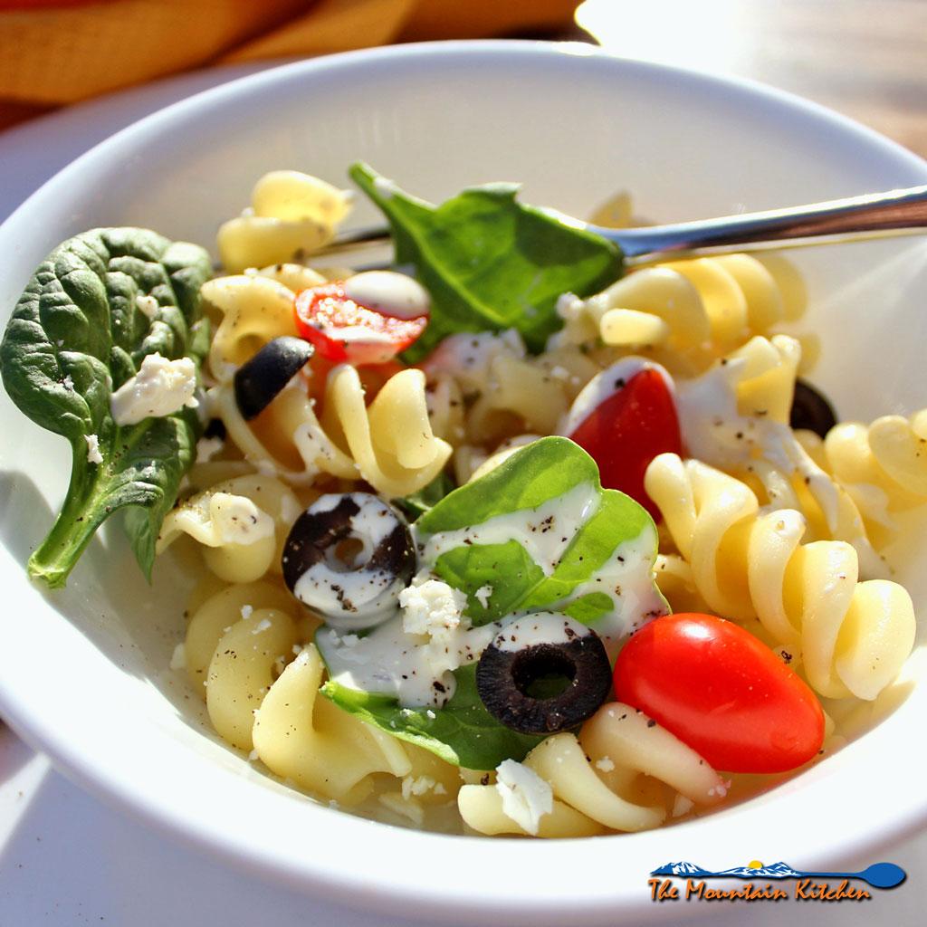 Mediterranean Pasta Salad in bowl