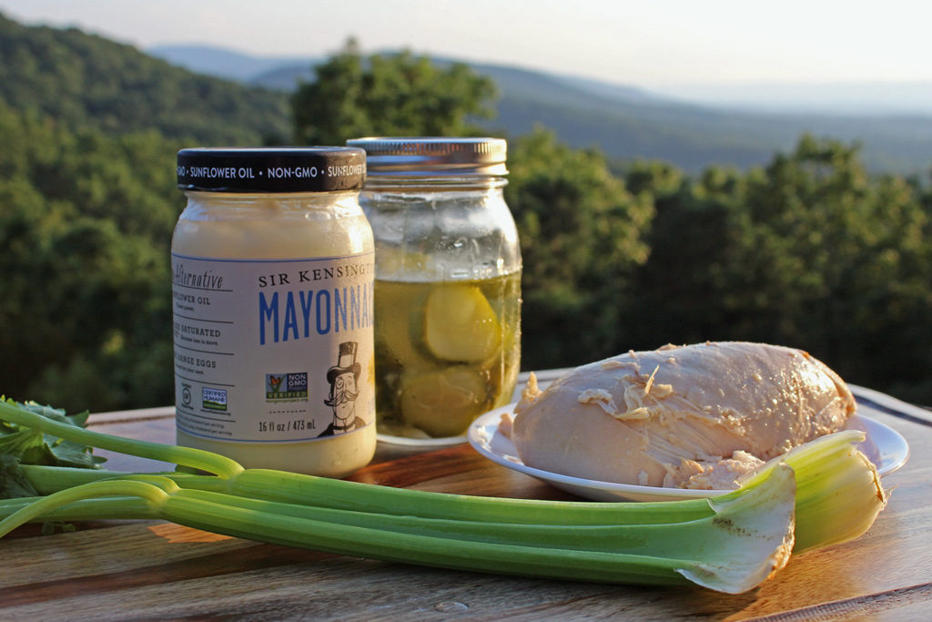 This roasted chicken salad is made from roasted chicken breast shredded with a celery and sweet pickle relish, mixed together with creamy mayonnaise. | TheMountainKitchen.com