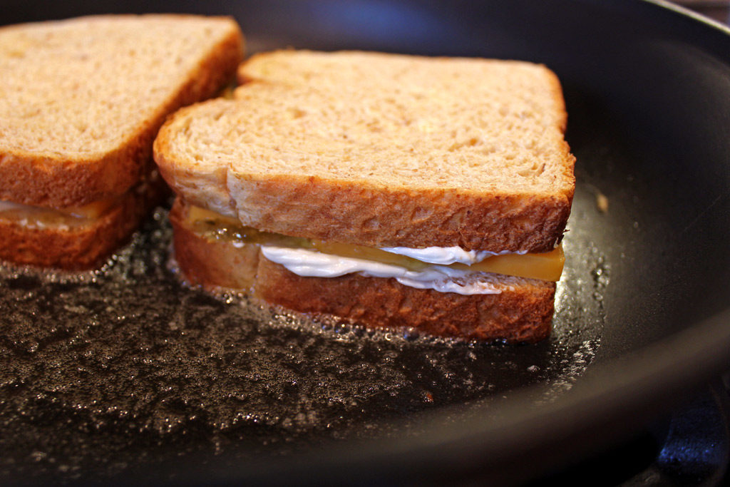grilled cheese in skillet