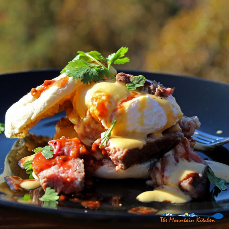 Steak eggs Benedict with chipotle-lime Hollandaise Sauce