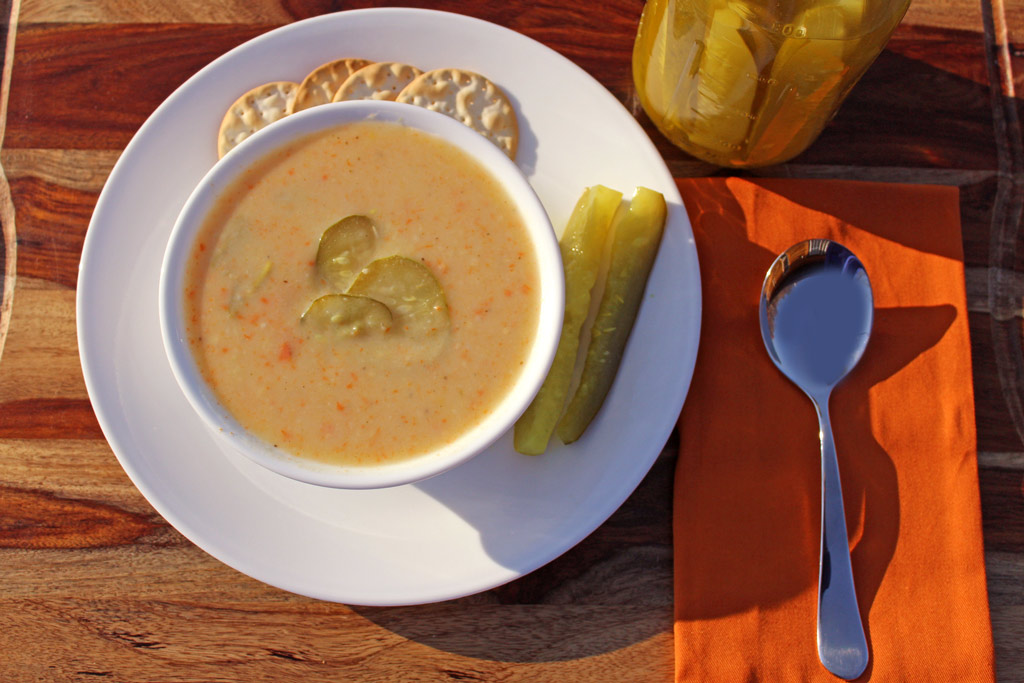 If you love dill pickles like we do, then you will love this dill pickle soup with creamy potatoes, carrots, sour cream, warm spices and tangy dill pickles. | TheMountainKitchen.com