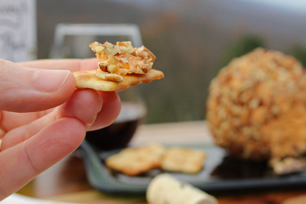 Mama's Christmas Cheese Ball is made with Velveeta, cream cheese and extra-sharp cheddar cheese, and coated in chopped pecans. It's simplicity is delicious.   TheMountainKitchen.com